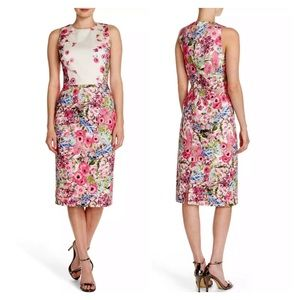 Maggy London Floral Patterned Sheath Dress 8